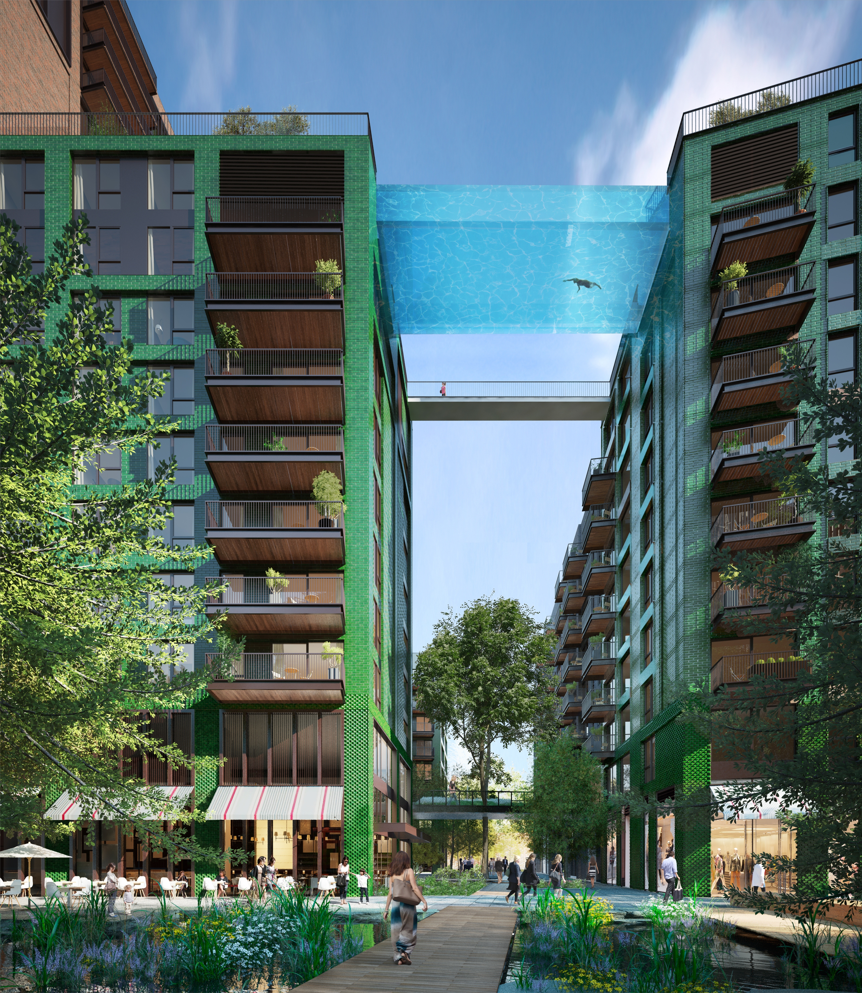 Sky Pool at Embassy Gardens by Eco World Ballymore 2 - stunning image of a transparent swimming pool suspended between two buuildings