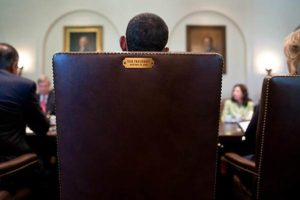 This photo of Obama's Chair from behind, in the Oval office, This image went viral during the 2008 campaign with the caption: 'This seat is taken'