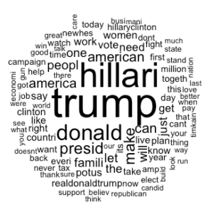 Clinton's Word Cloud identifying her most popular words
