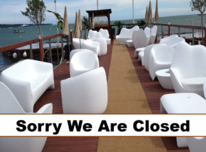 Restaurant with 'Sorry We Are Closed' sign