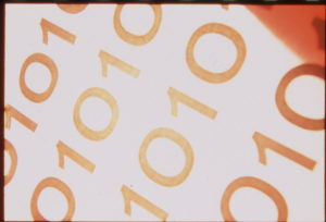 An image of zero's and ones ie binary code.