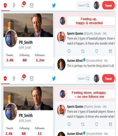 Two PR Smith twitter situation - many followers= happy and few followers = sad